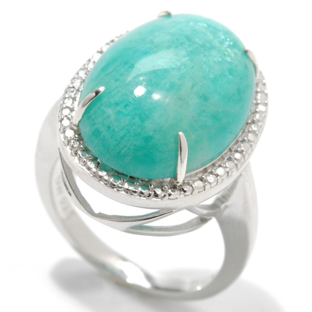 133-360 - Gem Insider Sterling Silver 18 x 13mm Oval Green Virginia Amazonite Beaded Halo Ring