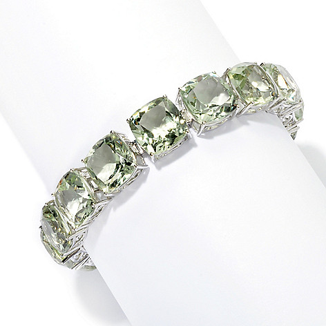 133-361 - Gem Insider Sterling Silver 12mm Cushion Cut Exotic Gemstone Tennis Bracelet