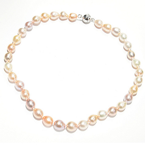 133-362 - Sterling Silver 18'' 9-11mm Multi Color Freshwater Cultured Pearl Necklace