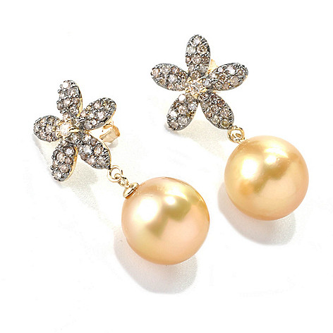 133-372 - 14K Gold 1'' 12-13mm Golden South Sea Cultured Pearl & Diamond Flower Earrings