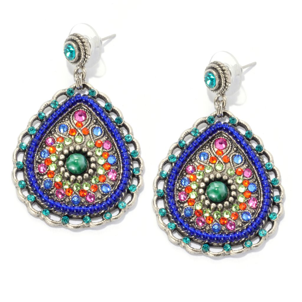 "133-375 - FAITH 2"" Beaded Multi Color Crystal & Glass Teardrop Earrings"