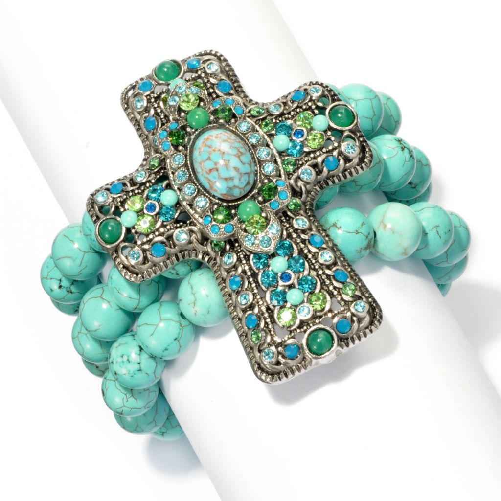 "133-379 - FAITH 6"" Beaded Three-Strand Cross Bracelet"