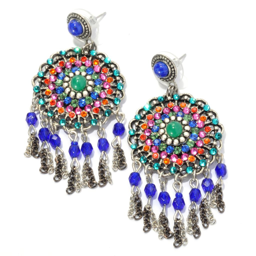 "133-380 - FAITH 2.5"" Beaded Round Medallion Drop Earrings"