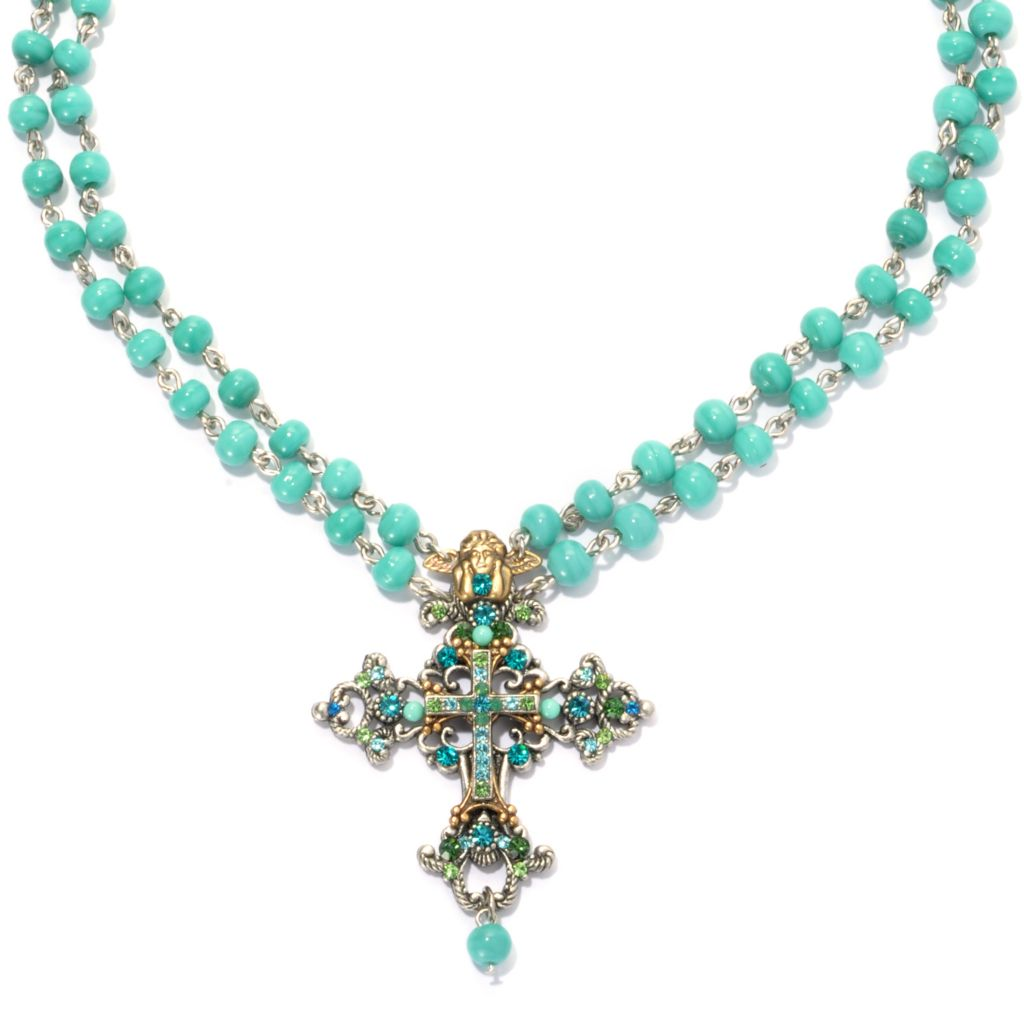 "133-387 - FAITH 18"" Multi Color Glass & Crystal Beaded Double Strand Cross Necklace"