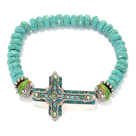 133-388 - FAITH 7'' Magnesite, Crystal & Glass Sideways Cross Beaded Bracelet