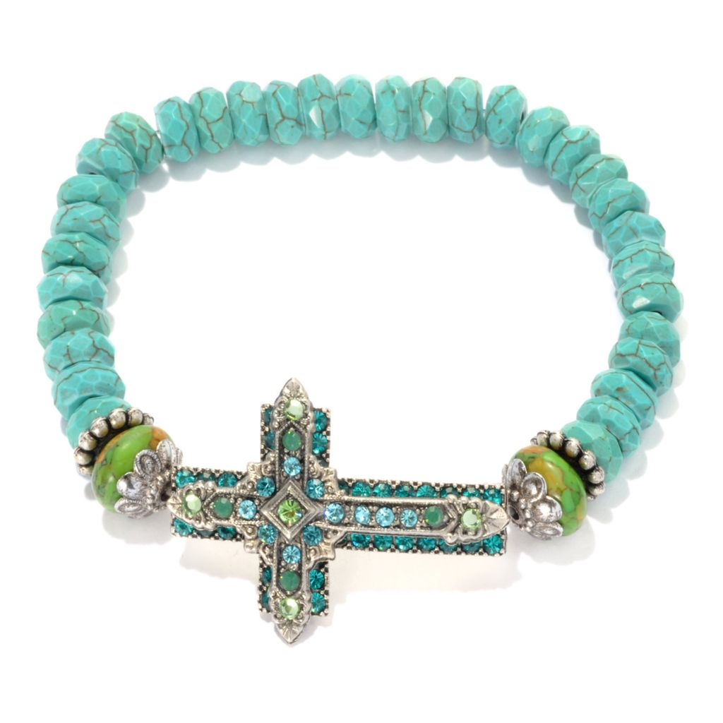"133-388 - FAITH 7"" Magnesite, Crystal & Glass Sideways Cross Beaded Bracelet"