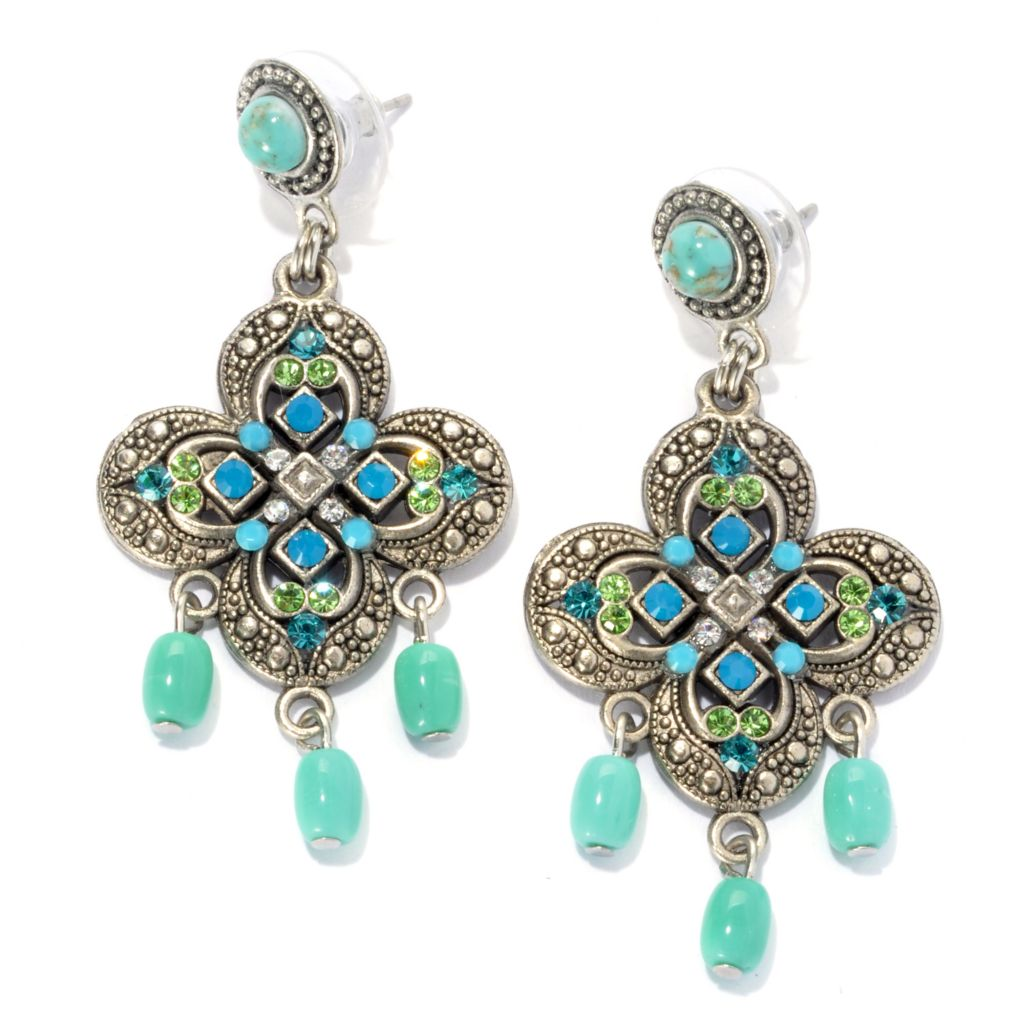 "133-391 - FAITH 2"" Multi Crystal & Glass Bead Clover Medallion Drop Earrings"