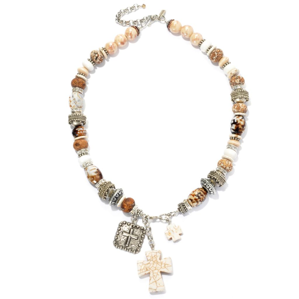 "133-400 - FAITH 20"" Multi Color Agate & Crystal Beaded Cross Charm Drop Necklace"