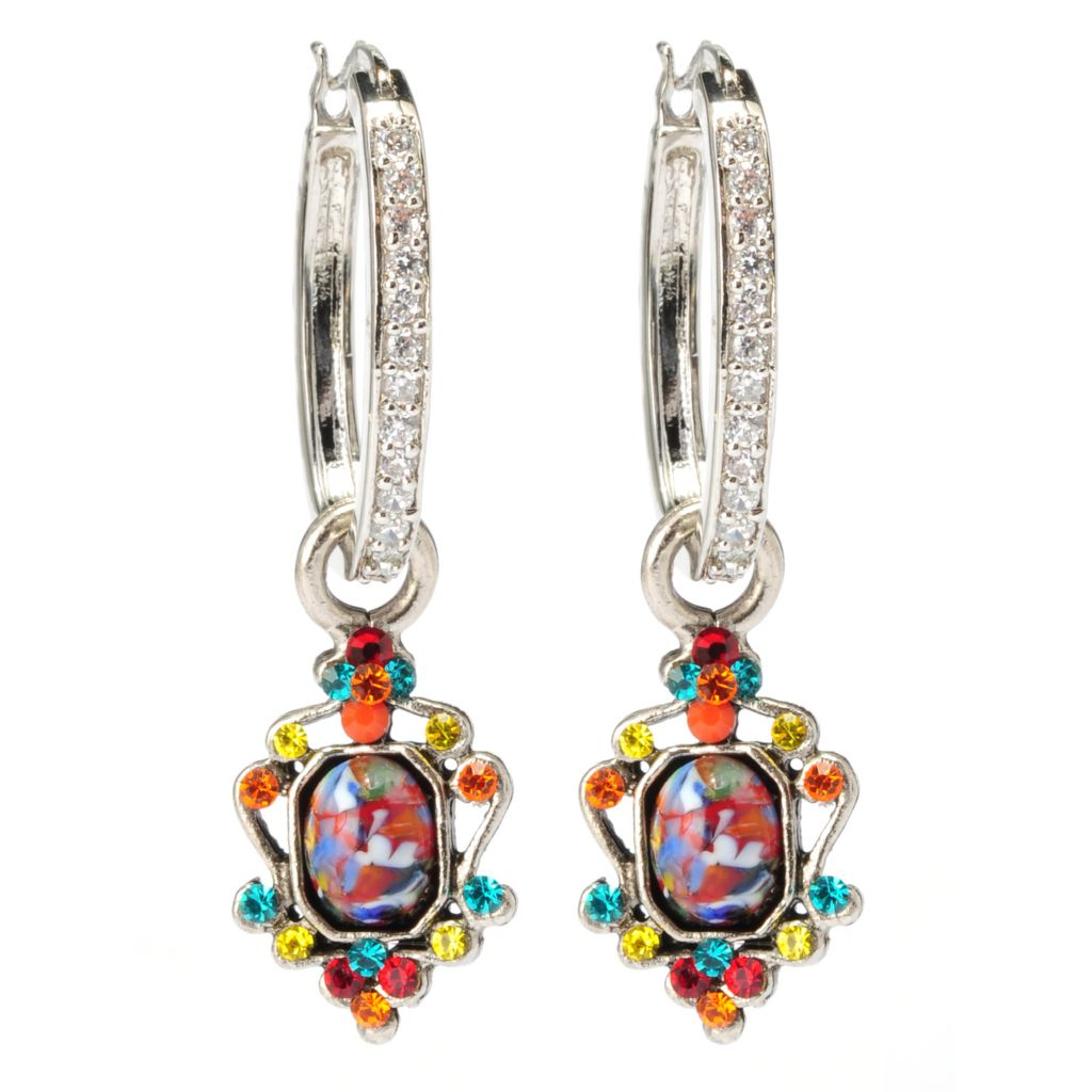 "133-408 - FAITH 1.75"" Crystal Hoop Earrings w/ Multi Color Scrollwork Charm"