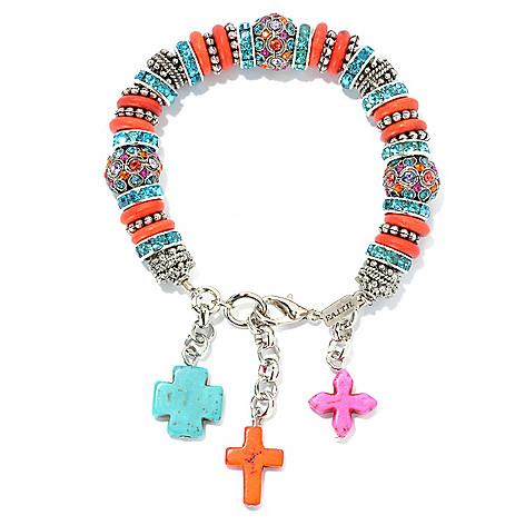 133-412 - FAITH 7.5'' Multi Color Crystal & Cross Charm Bracelet w/ 1'' Extender