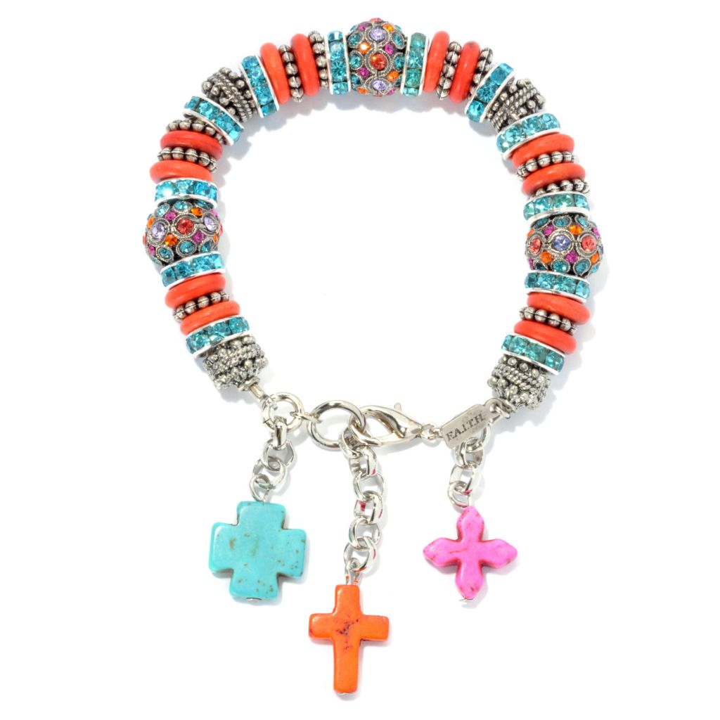 "133-412 - FAITH 7.5"" Multi Color Crystal & Cross Charm Bracelet w/ 1"" Extender"