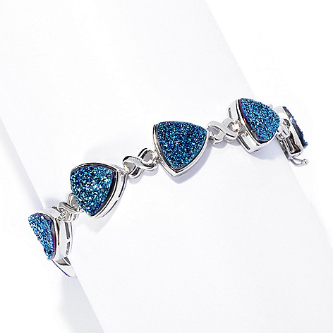 133-443 - Gem Insider™ Sterling Silver 9.5mm Trillion Blue Drusy Link Bracelet