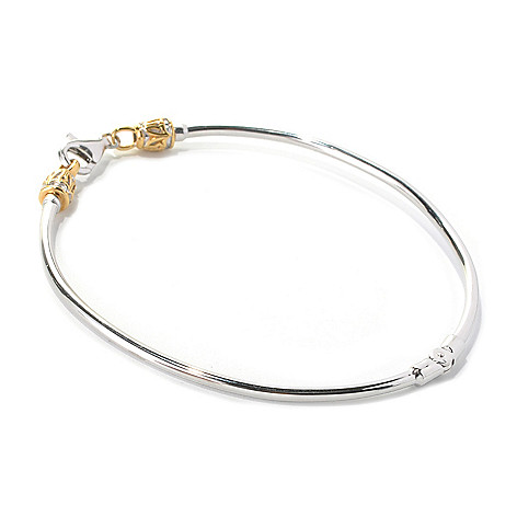 133-444 - Gems en Vogue II Two-tone Starter Bangle Bracelet w/ Twist-off Clasp