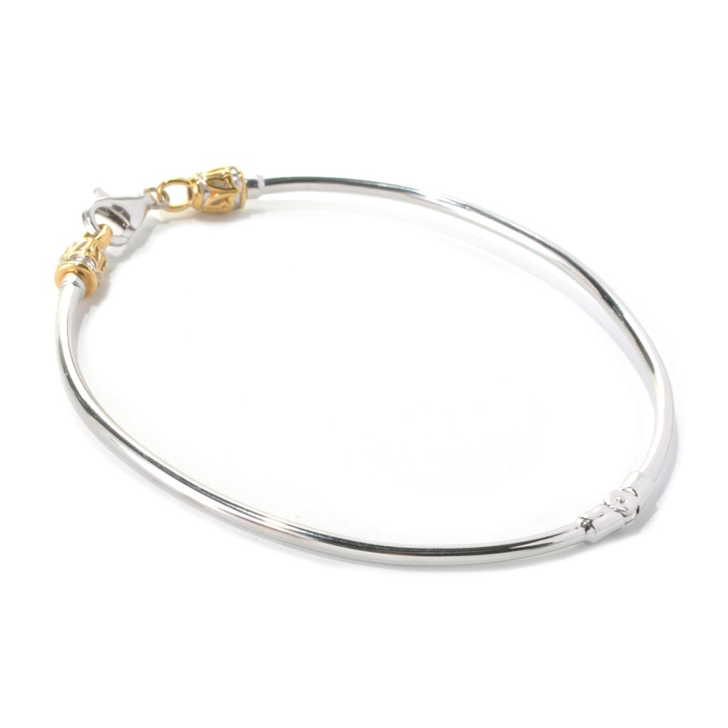 133-444 - Gems en Vogue Two-tone Starter Bangle Bracelet w/ Twist-off Clasp