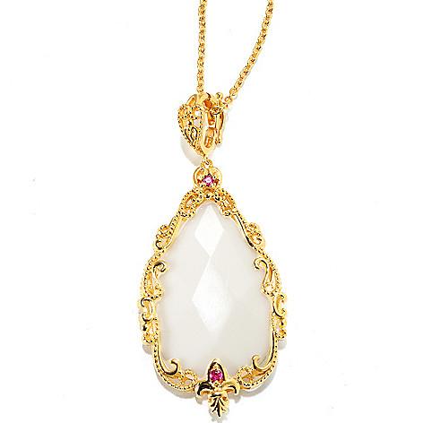 133-451 - Dallas Prince 32 x 20mm White Agate & Pink Sapphire Pendant w/ Chain