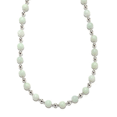 133-457 - Gem Insider Sterling Silver 18'' 8mm Jade Bead Necklace