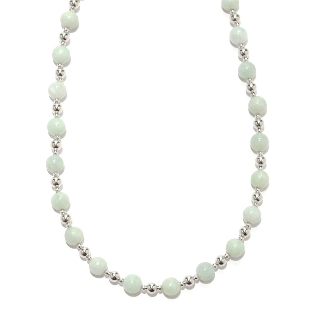"133-457 - Gem Insider Sterling Silver 18"" 8mm Jade Bead Necklace"