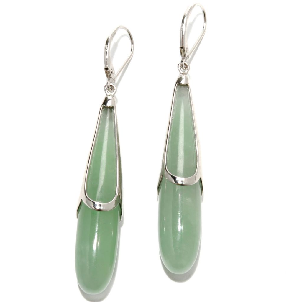"133-458 - Gem Insider Sterling Silver 2.25"" 43 x 9mm Jade Elongated Drop Earrings"