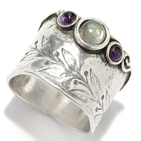 133-462 - Passage to Israel Sterling Silver Round Labradorite Amethyst Engraved Vine Wide Ring