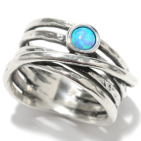 133-463 - Passage to Israel Sterling Silver 4mm Simulated Blue Opal Overlay Multi Row Ring