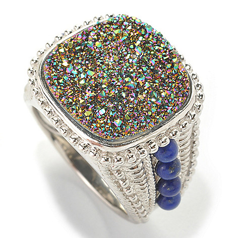 133-465 - Gem Insider Sterling Silver 16mm Rainbow Drusy & Lapis Ring