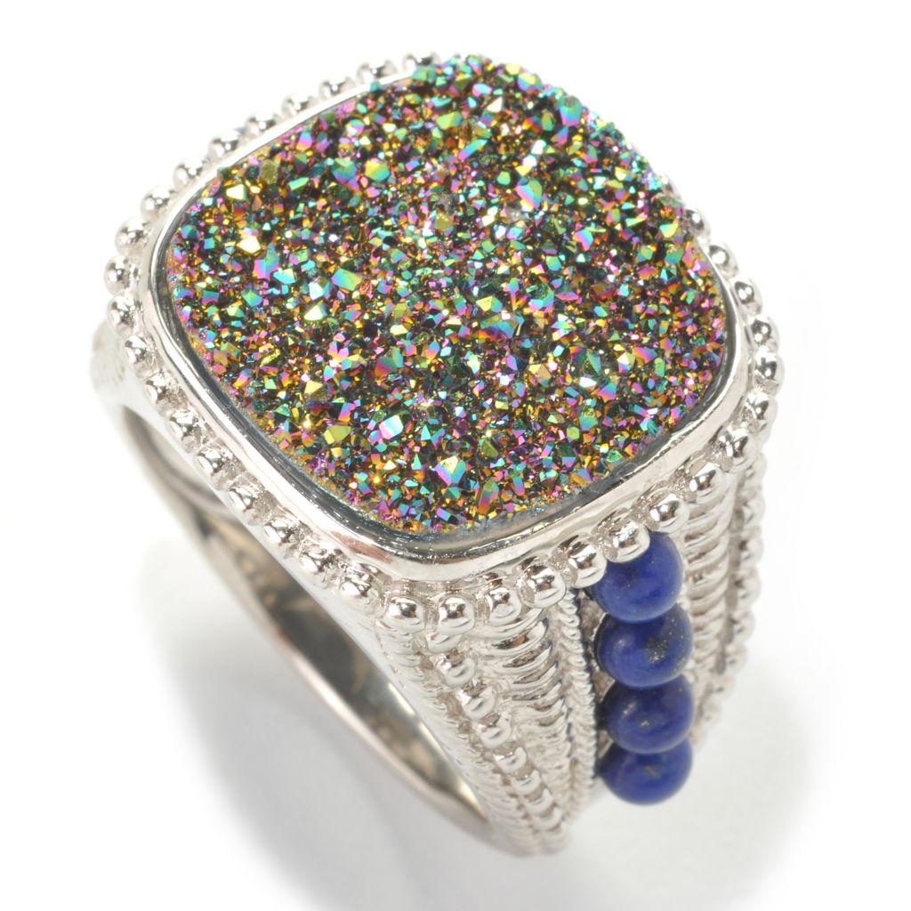 133-465 - Gem Insider Sterling Silver 16mm Rainbow Drusy & Lapis Ring