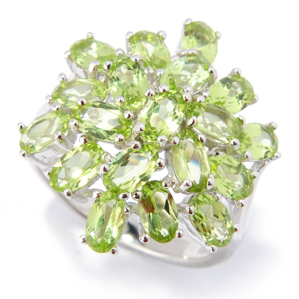 133-468 - Gem Insider Sterling Silver 3.80ctw Peridot Multi Level Cluster Ring