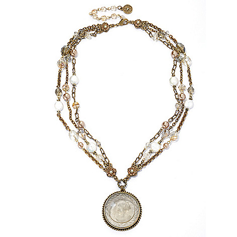 133-479 - Sweet Romance™ 20'' Crystal & Glass Intaglio Drop Necklace w/ 3'' Extender
