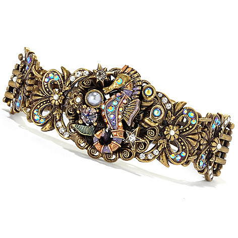 133-481 - Sweet Romance™ 7'' Multi Color Crystal & Glass 1920's Inspired Seahorse Bracelet