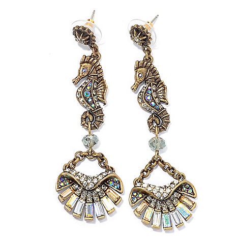 133-482 - Sweet Romance™ 3'' Multi Color Crystal & Glass 1920's Inspired Seahorse Earrings