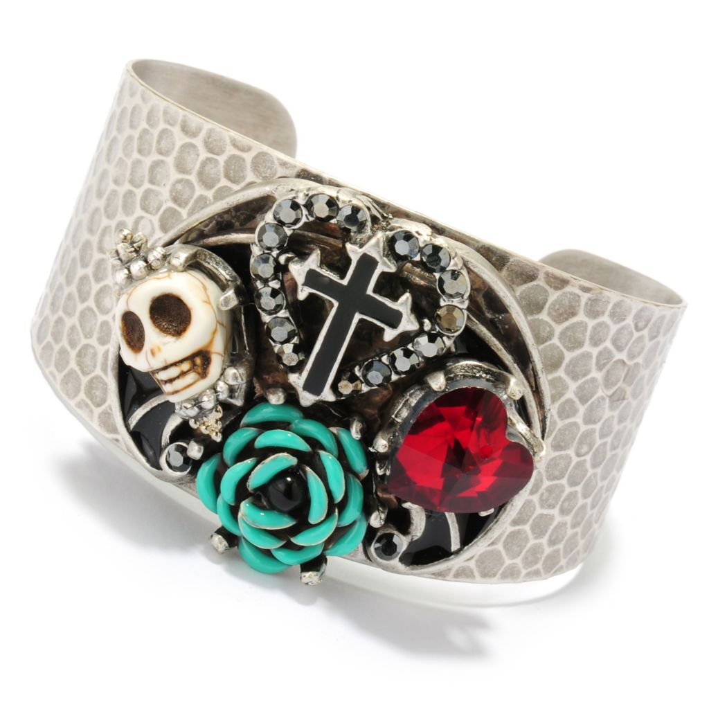 "133-485 - Sweet Romance™ 6.75"" Magnesite, Crystal & Glass Textured Cuff Bracelet"