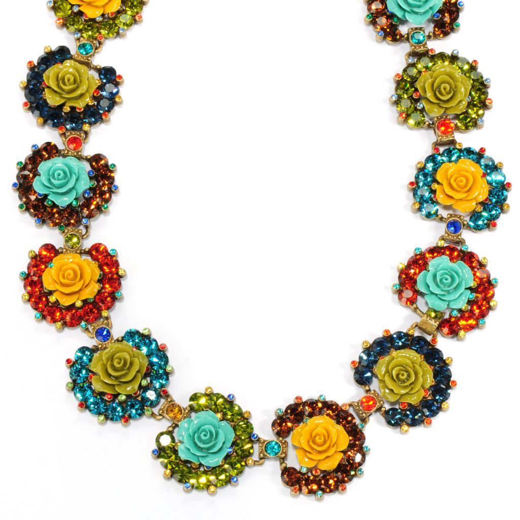 "133-487 - Sweet Romance™ 17"" Multi Color Crystal & Resin Rose Collar Necklace"