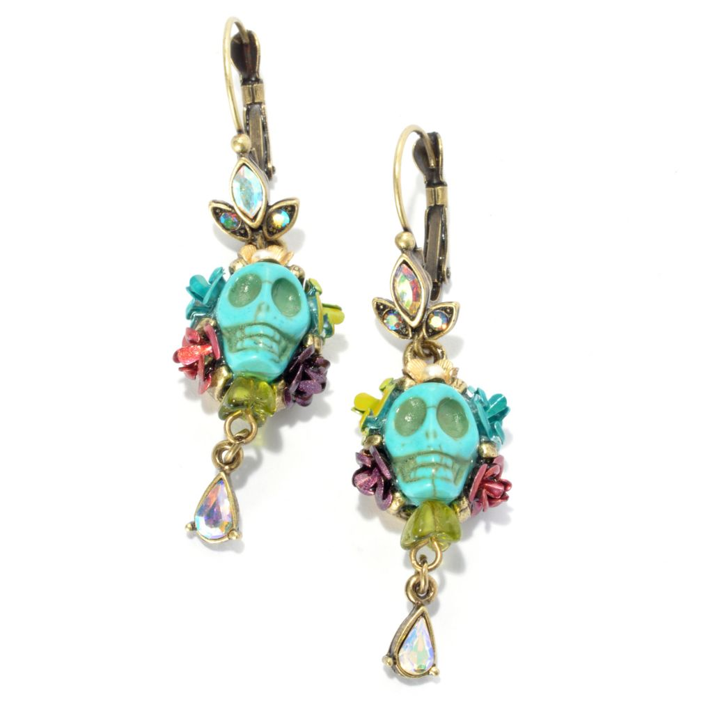 "133-490 - Sweet Romance™ 2.5"" Magnesite Skull & Roses Crystal Bead Dangle Earrings"