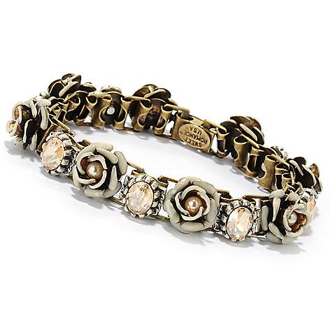 133-492 - Sweet Romance™ 7.5'' Crystal & Heirloom Rose Line Bracelet