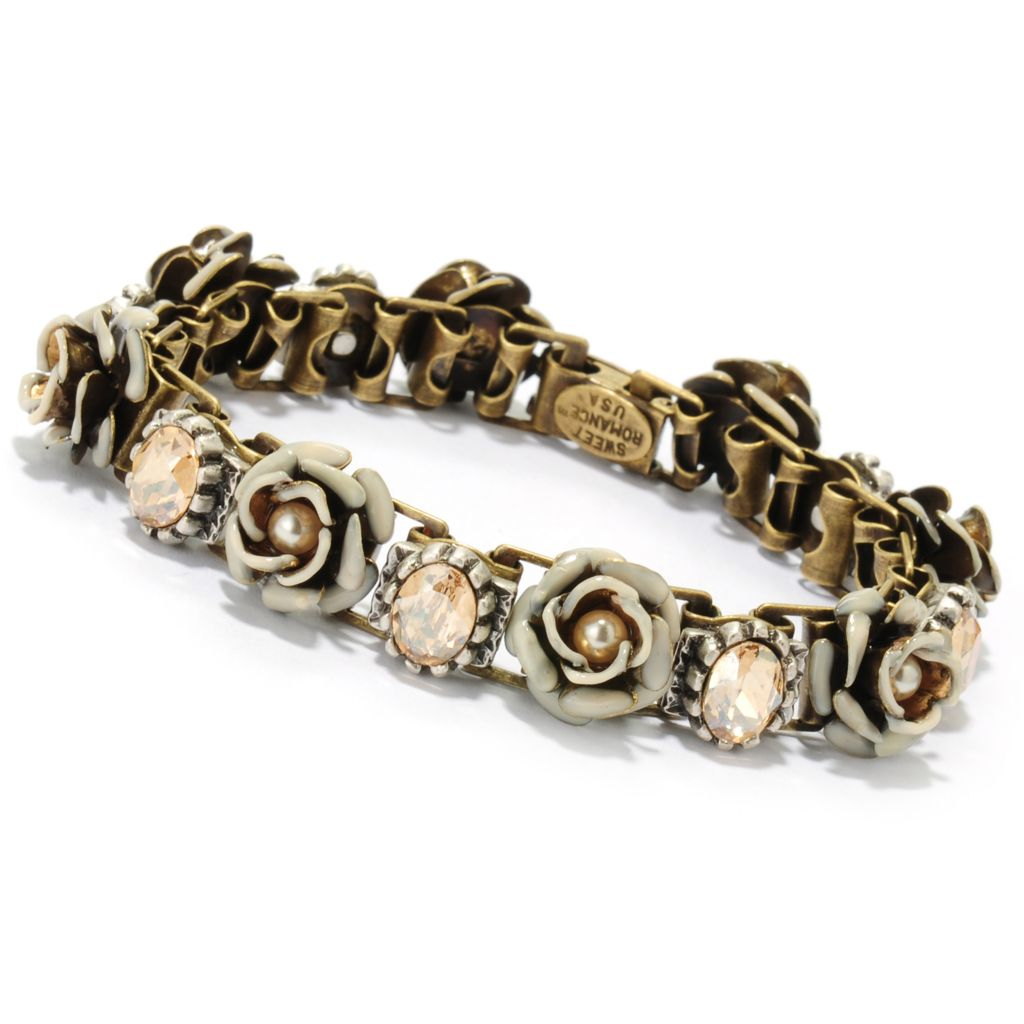 "133-492 - Sweet Romance™ 7.5"" Crystal & Heirloom Rose Line Bracelet"