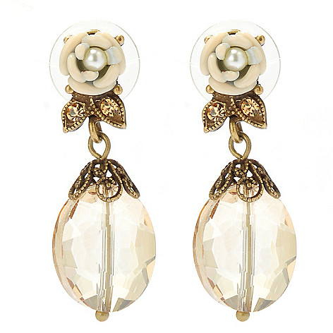 133-493 - Sweet Romance™ 1.5'' Heirloom Rose Crystal & Glass Drop Earrings