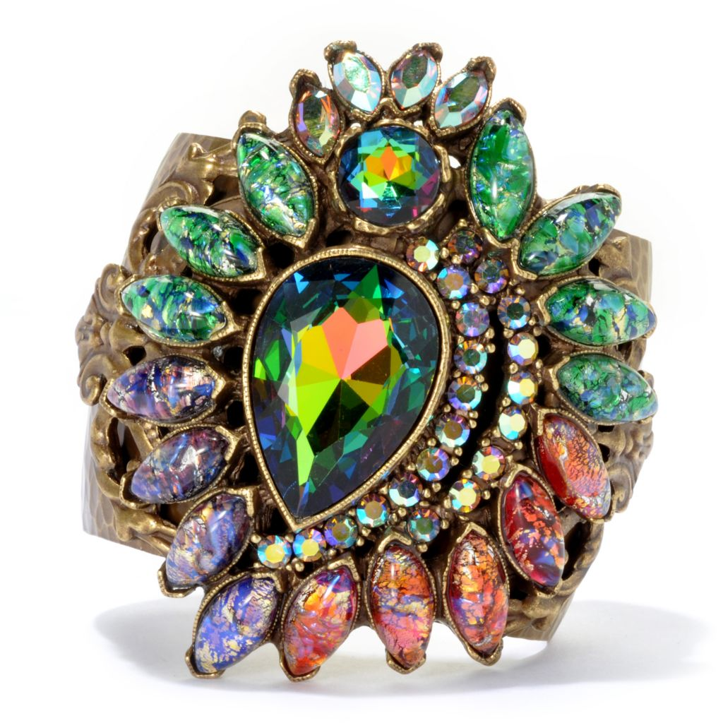 "133-496 - Sweet Romance™ 7"" Iridescent Crystal & Glass Textured Cuff Bracelet"