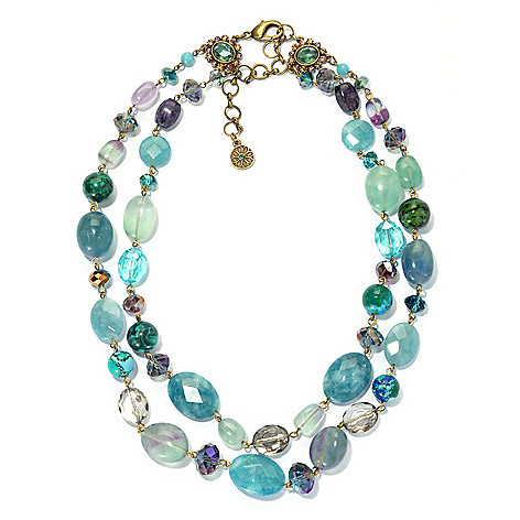 133-497 - Sweet Romance™ 20.5'' Fluorite, Chrysocolla & Quartz Two-Strand Beaded Necklace