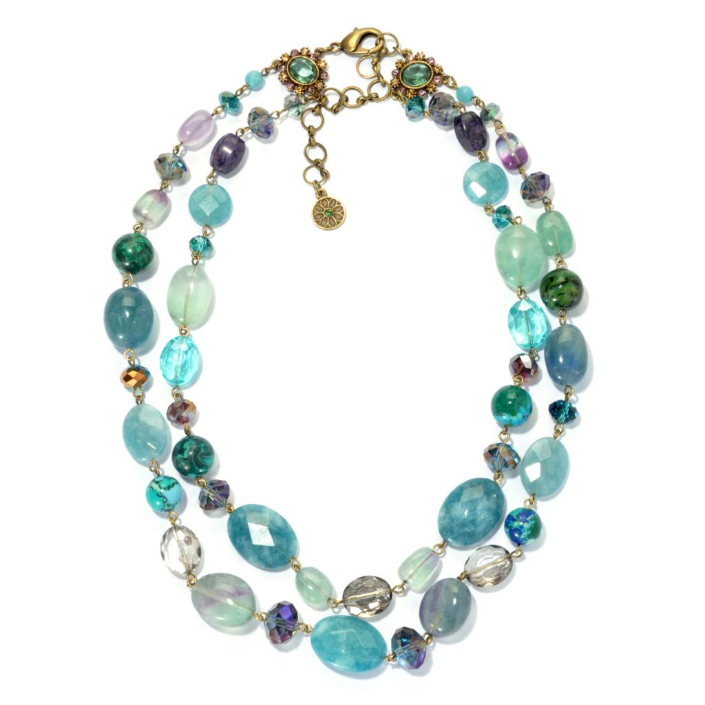 "133-497 - Sweet Romance™ 20.5"" Fluorite, Chrysocolla & Quartz Two-Strand Beaded Necklace"