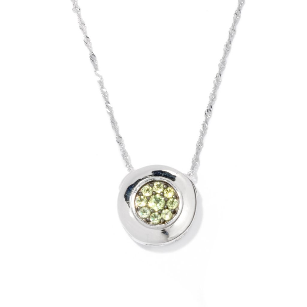 133-510 - Gem Insider Sterling Silver Spinel & Peridot Reversible Circle Pendant w/ Chain
