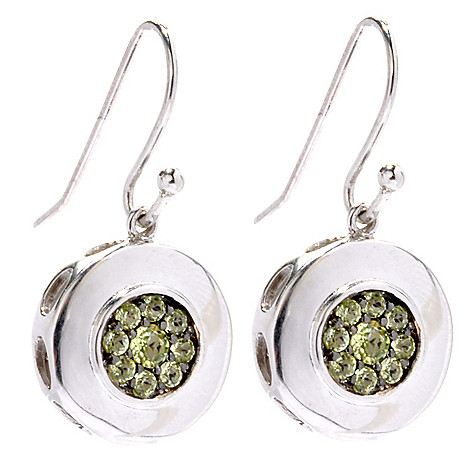 133-511 - Gem Insider Sterling Silver Spinel & Peridot Reversible Circle Drop Earrings