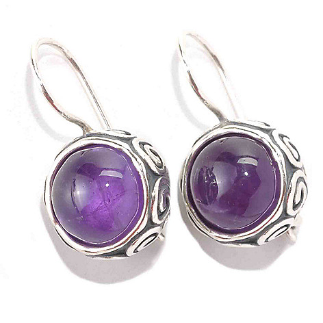 133-512 - Passage to Israel Sterling Silver 10mm Gemstone Oxidized Swirl Frame Earrings