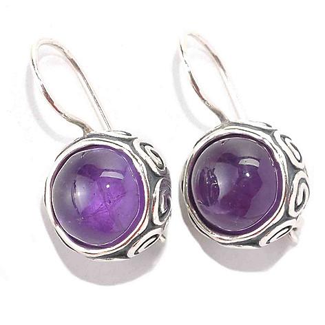133-512 - Passage to Israel Sterling Silver 10mm Gemstone Oxidized Swirl Frame Earrings