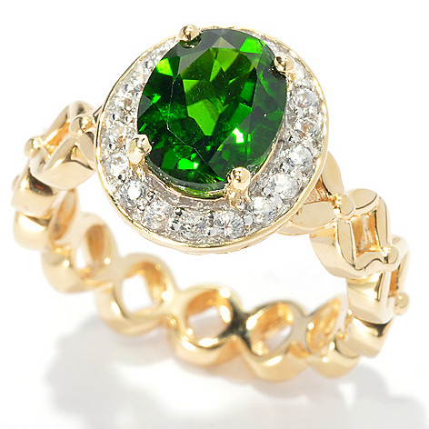 133-519 - NYC II 2.72ctw Oval Chrome Diopside & Round White Zircon Flower Link Ring