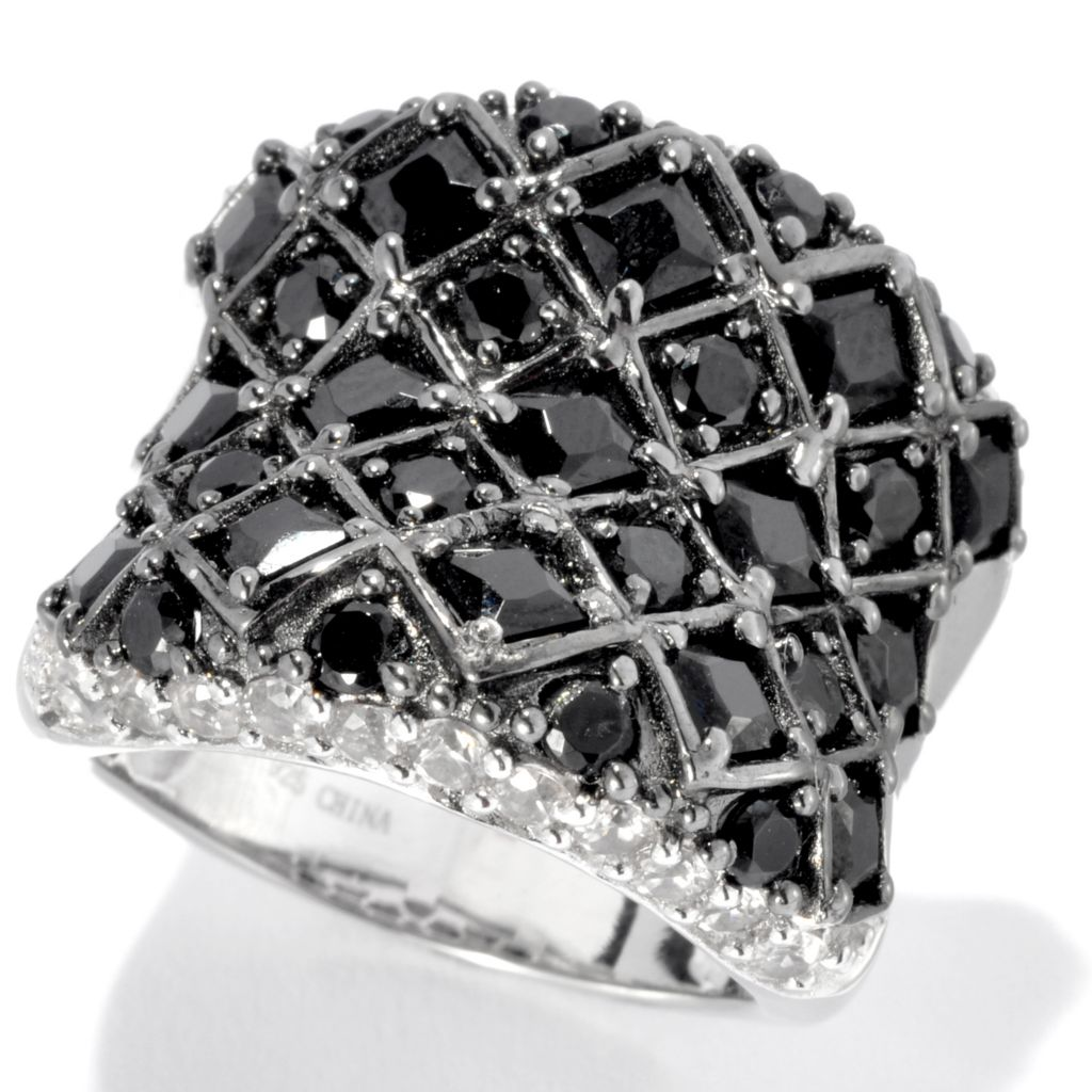 133-521 - NYC II 4.40ctw Princess & Round Black Spinel & White Zircon Wide Band Ring