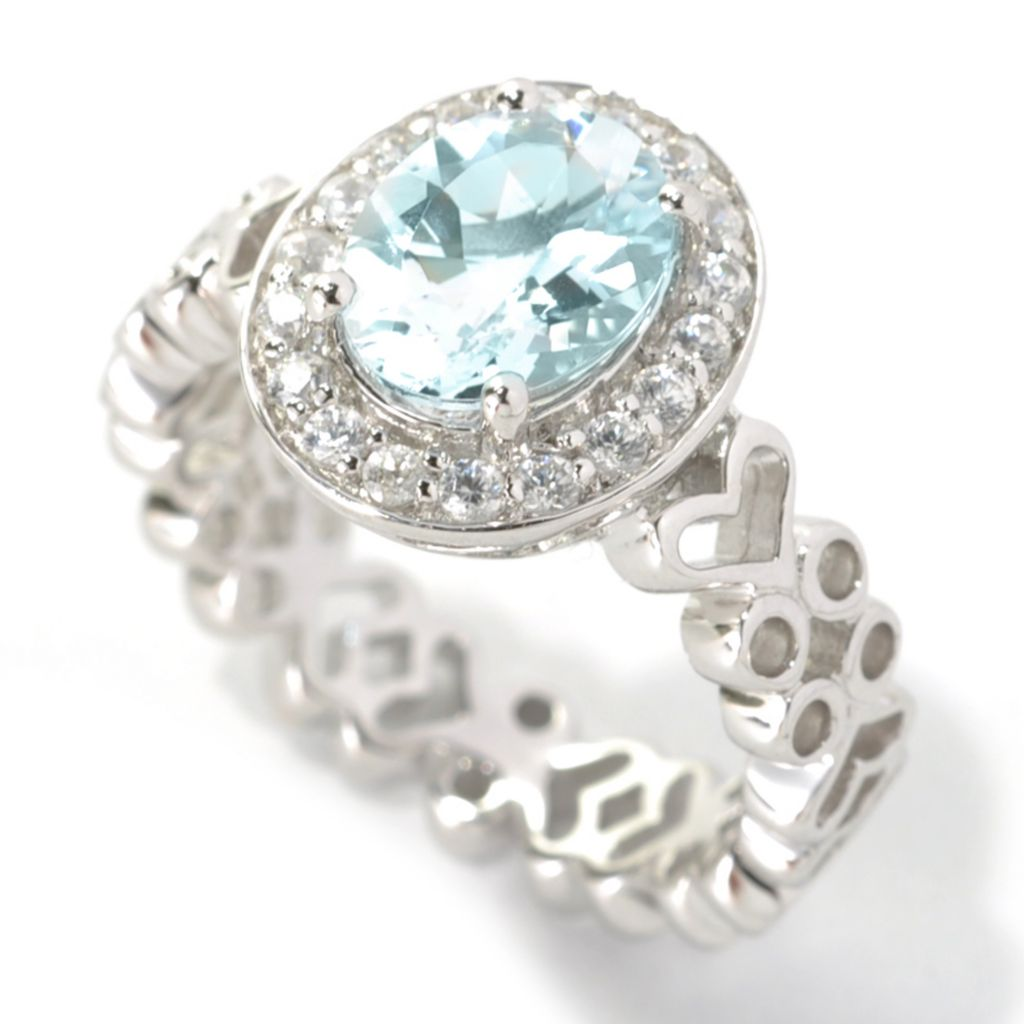 133-531 - NYC II 1.79ctw Oval Aquamarine & White Zircon Halo Ring