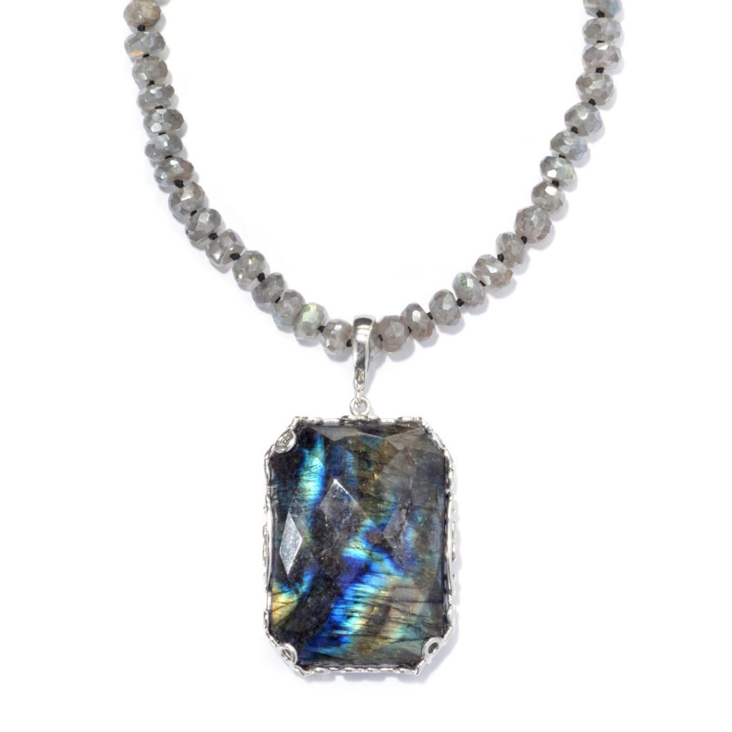 "133-533 - Gem Insider Sterling Silver Labradorite Enhancer & 36"" Beaded Necklace"