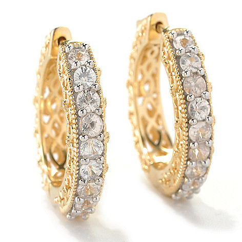 133-534 - NYC II 1'' Nine-Stone Scrollwork Hoop Earrings