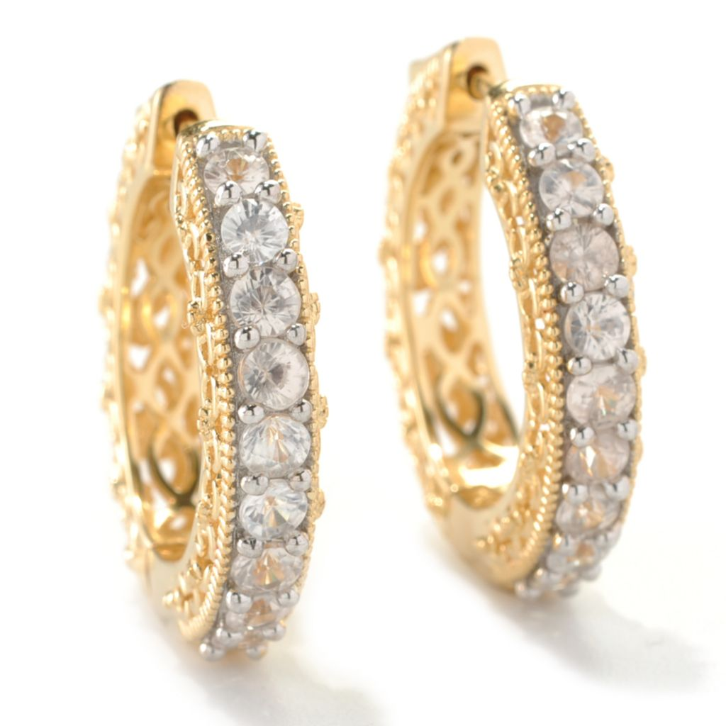 "133-534 - NYC II 1"" Nine-Stone Scrollwork Hoop Earrings"