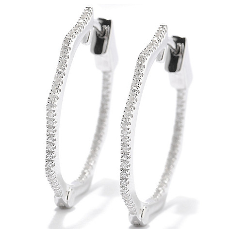 133-536 - Gem Insider Sterling Silver 1'' Zircon Octagon Inside-Out Hoop Earrings
